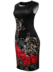 Round Neck Graceful Floral Printed Bodycon Dress