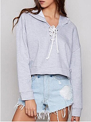 Autumn Spring  Cotton Blend  Lace-Up  Plain  Long Sleeve Hoodies