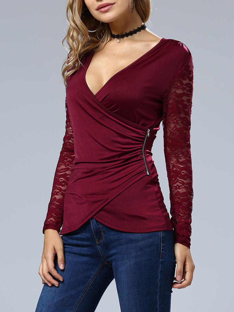 Deep V-Neck Zips Ruched Hollow Out Plain Long Sleeve T-Shirt