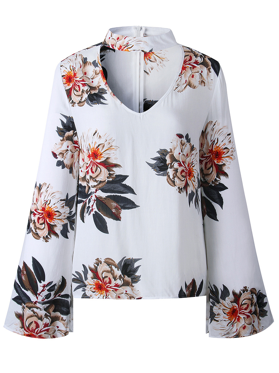 Band Collar Cutout Floral Printed Bell Sleeve T-Shirt