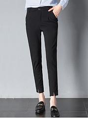 Plain-Pocket-Slim-Leg-Slit-Casual-Pants