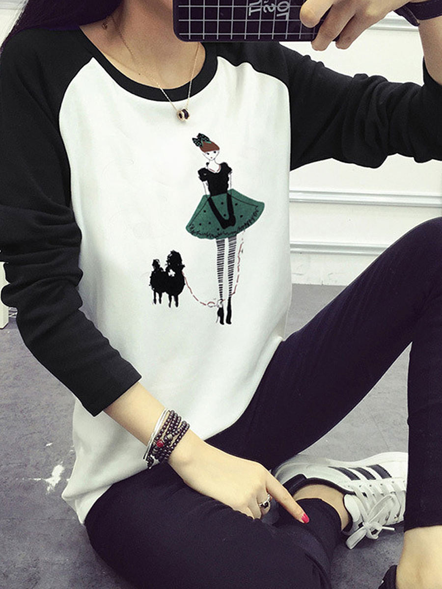 Autumn Spring  Polyester  Women  Round Neck  Patchwork  Printed Long Sleeve T-Shirts