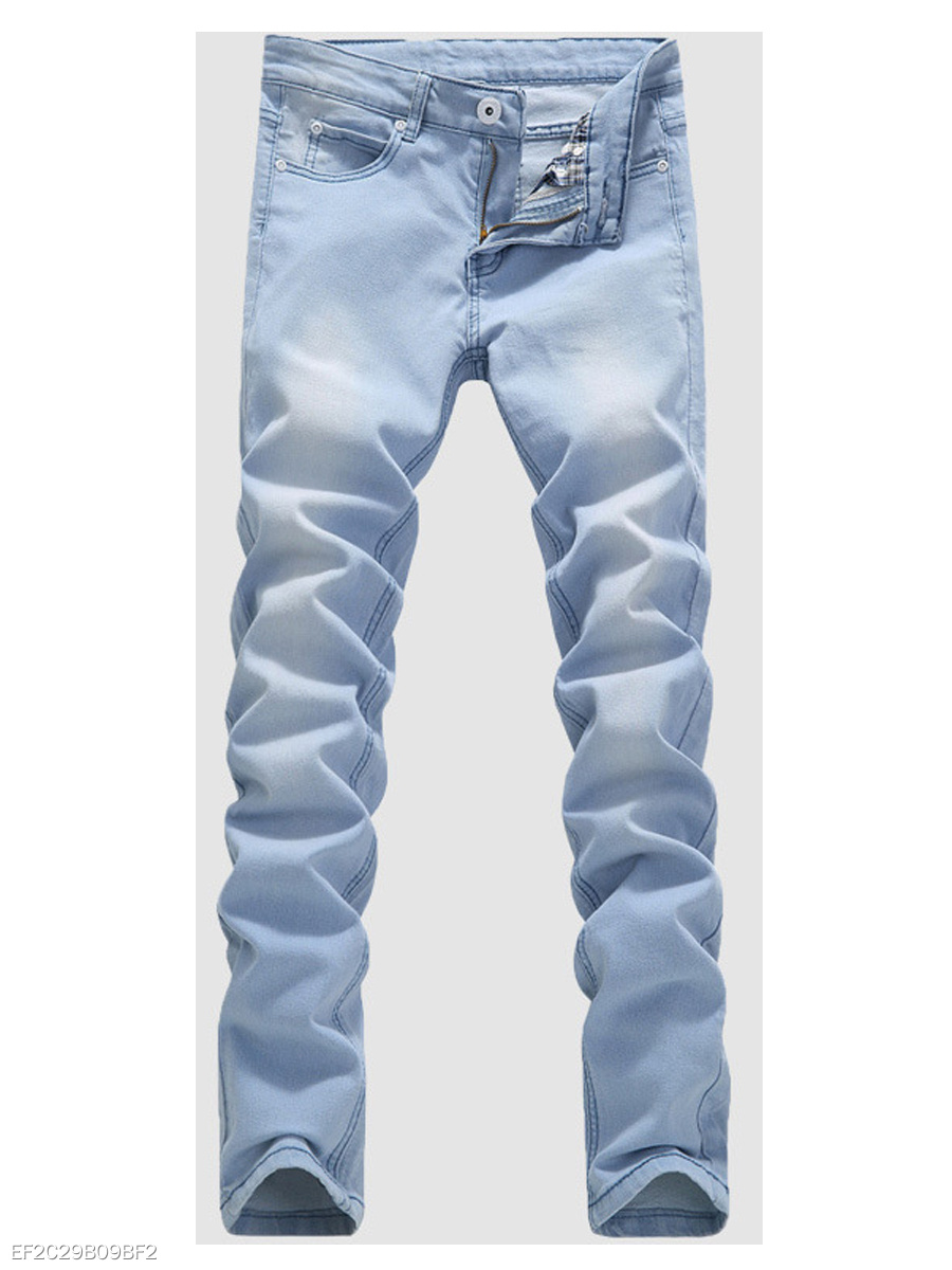 Ripped  Light Wash  Slim-Leg  Mid-Rise Men's Jeans