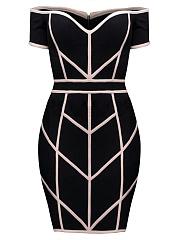 Off-Shoulder-Contrast-Trim-Cocktail-Dress