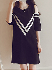 Round Neck  Contrast Trim  Plain Shift Dress