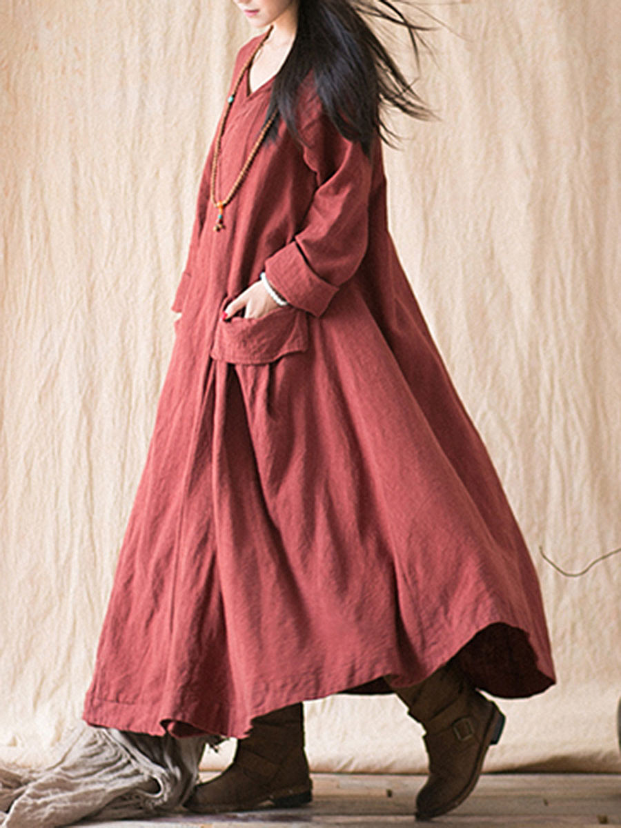Oversized Plain V-Neck Flap Pocket Maxi Dress