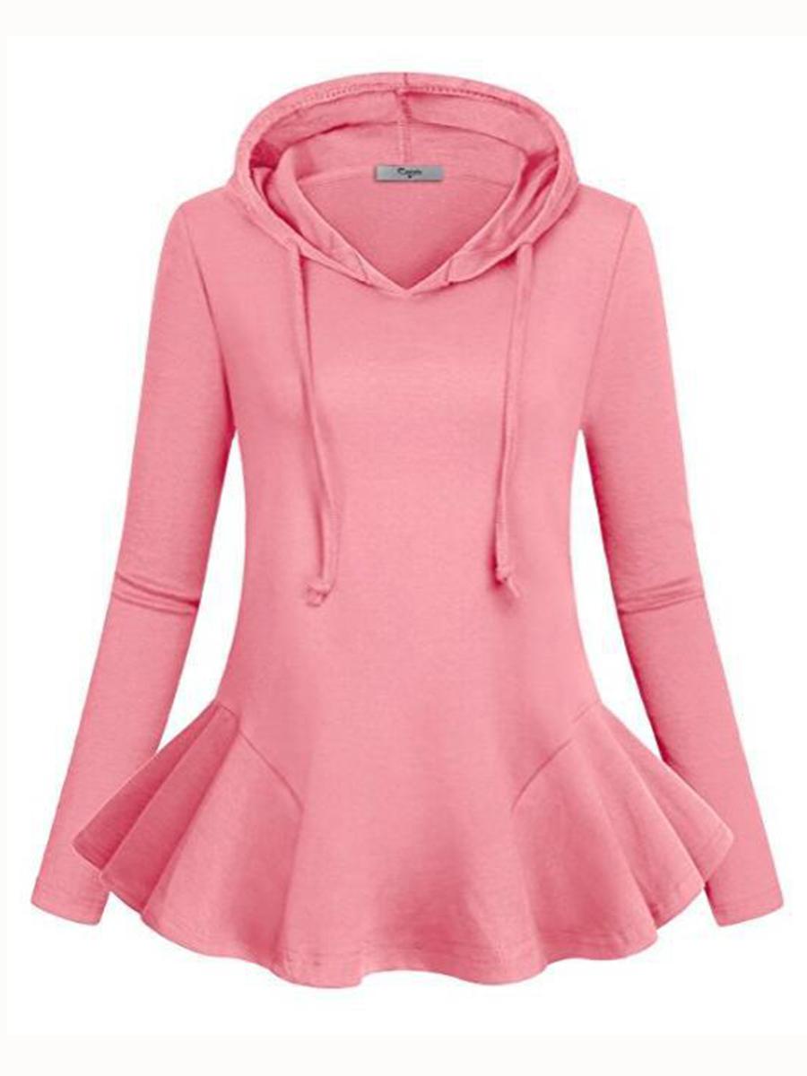 casual flounce plain autumn spring hoodies Autumn Spring  Cotton Blend  Flounce  Plain  Long Sleeve Hoodies