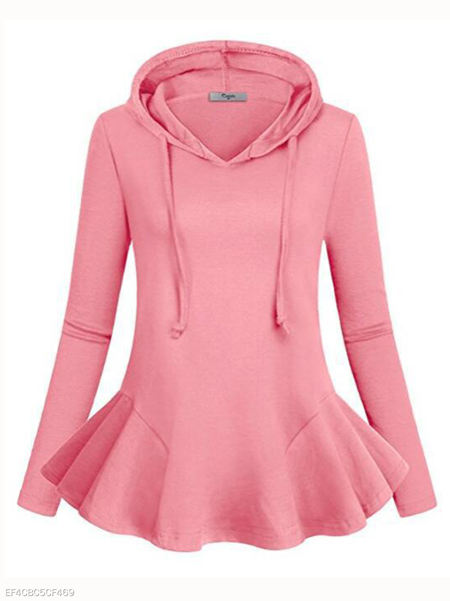 Autumn Spring  Cotton Blend  Flounce  Plain  Long Sleeve Hoodies