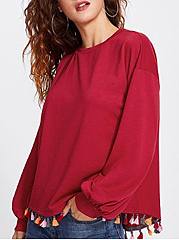 Round Neck  Fringe  Plain  Long Sleeve Sweatshirts