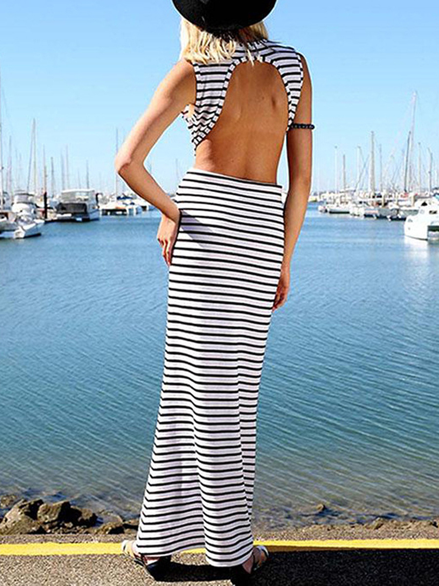 Round Neck  Backless Elastic Waist  Printed Maxi Dress