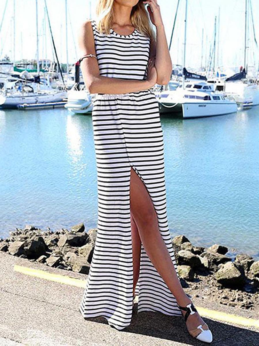 Round Neck  Backless Elastic Waist  Printed Maxi Dress