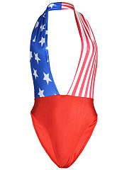 Halter  Backless Flag Printed One Piece