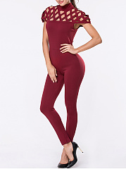 High Neck Hollow Out Plain Slim-Leg Jumpsuit