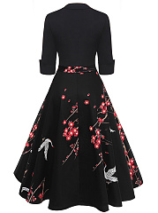Elegant Floral Bird Printed Midi Skater Dress