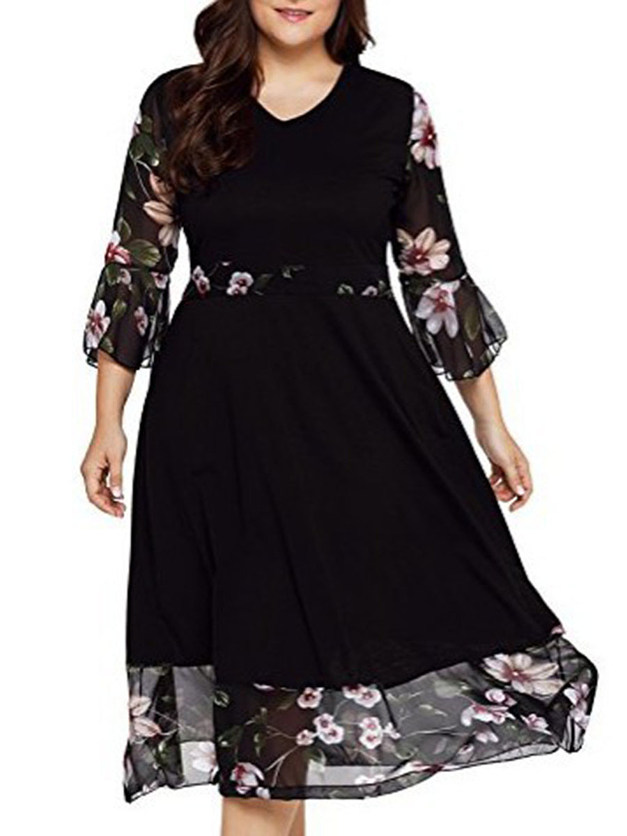 V-Neck  Patchwork  Plain Printed Plus Size Midi & Maxi Dress