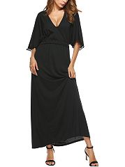 V-Neck  Elastic Waist Tassel  Plain Maxi Dress