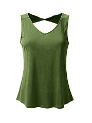 V-Neck  Backless  Plain  Sleeveless Plus Size T-Shirts