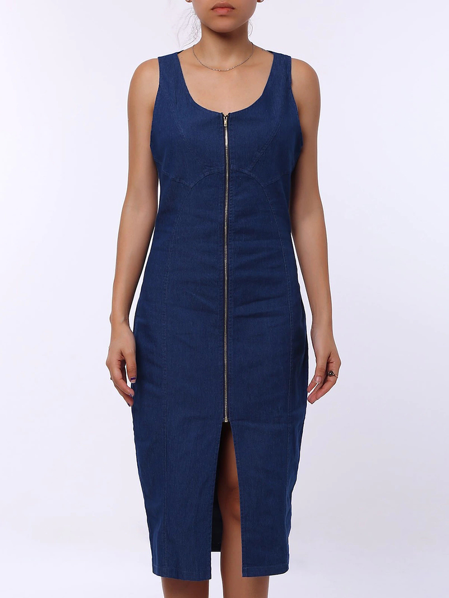 Image For Round Neck  Plain Zipper Decoration Bodycon Dresses