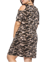 Round Neck  Slit Pocket  Camouflage Plus Size Bodycon Dress