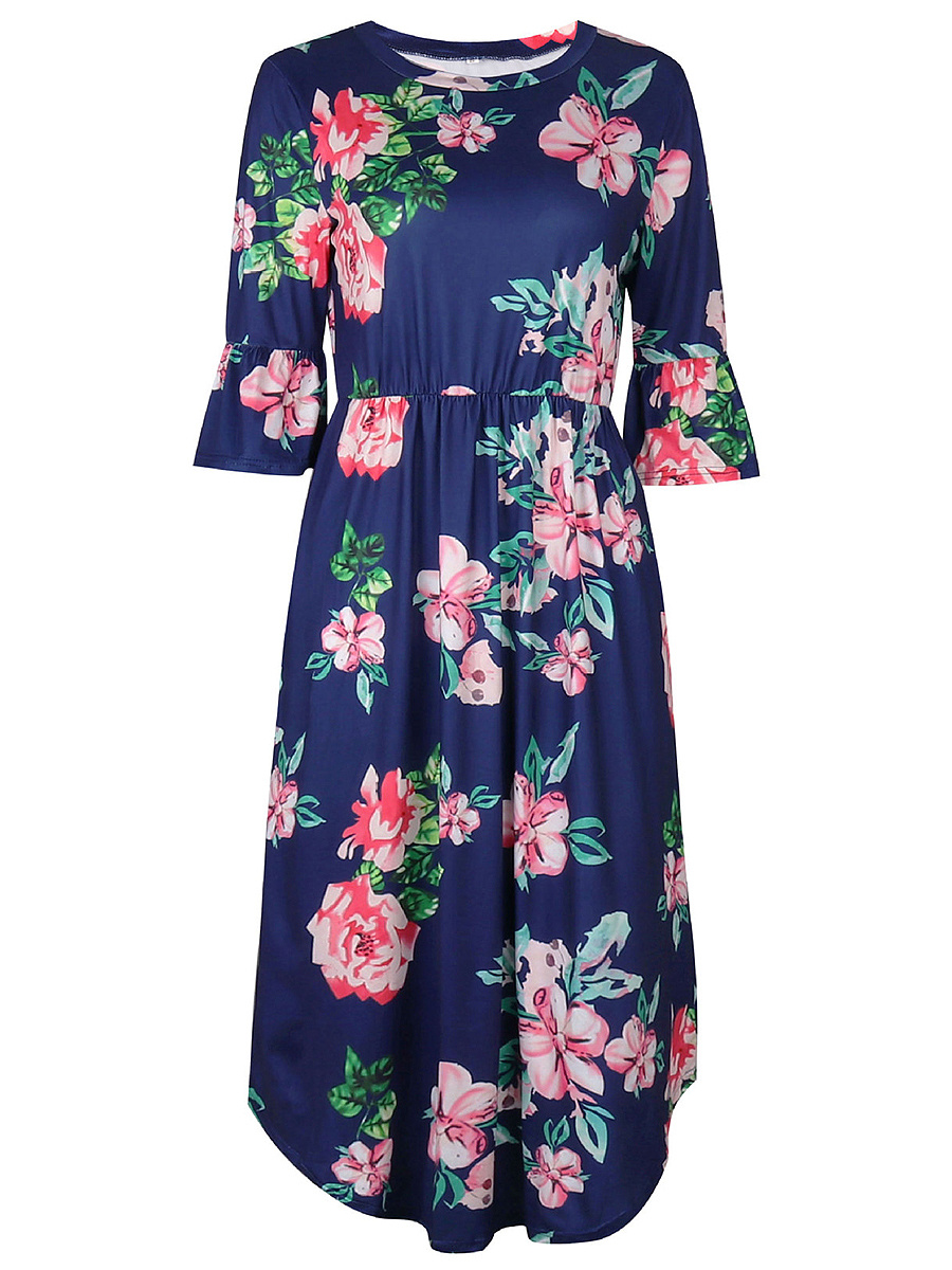 Bell Sleeve Floral Printed Pocket Midi Skater Dress