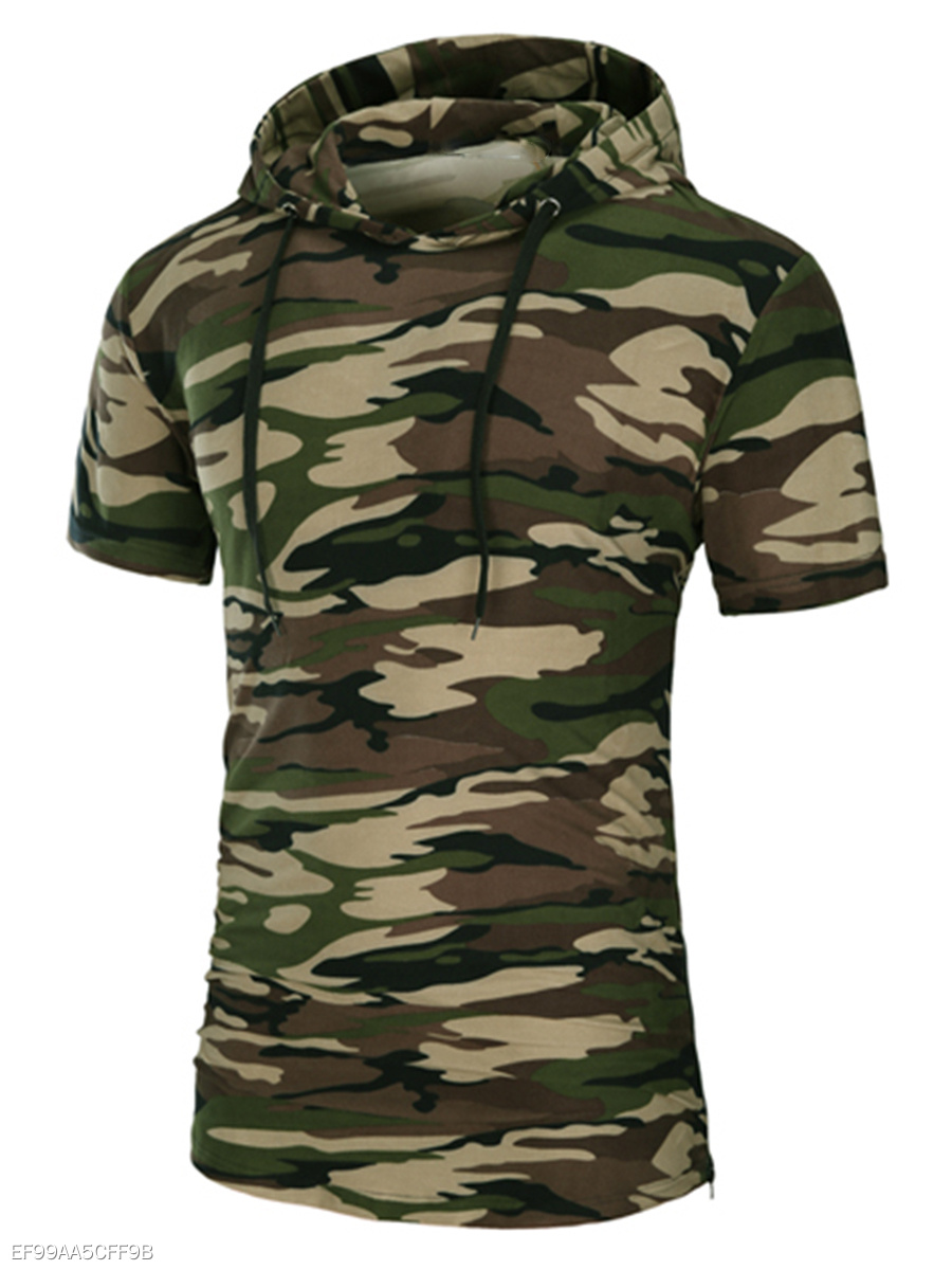 Hooded  Zips  Camouflage  Short Sleeve Short Sleeves T-Shirts