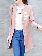 Round Neck  Letters Plain  Long Sleeve Coats