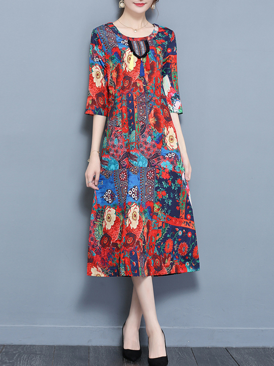 Floral Printed Tassel Round Neck Pocket Maxi Dress