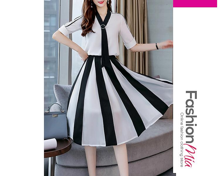 Tie Collar  Patchwork  Color Block Maxi Dress EFC1F16B6E2E