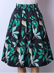 Elastic Waist Inverted Pleat Leaf Printed Flared Midi Skirt