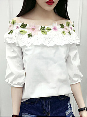 Polyester  Word Collar  Floral Plain Blouses