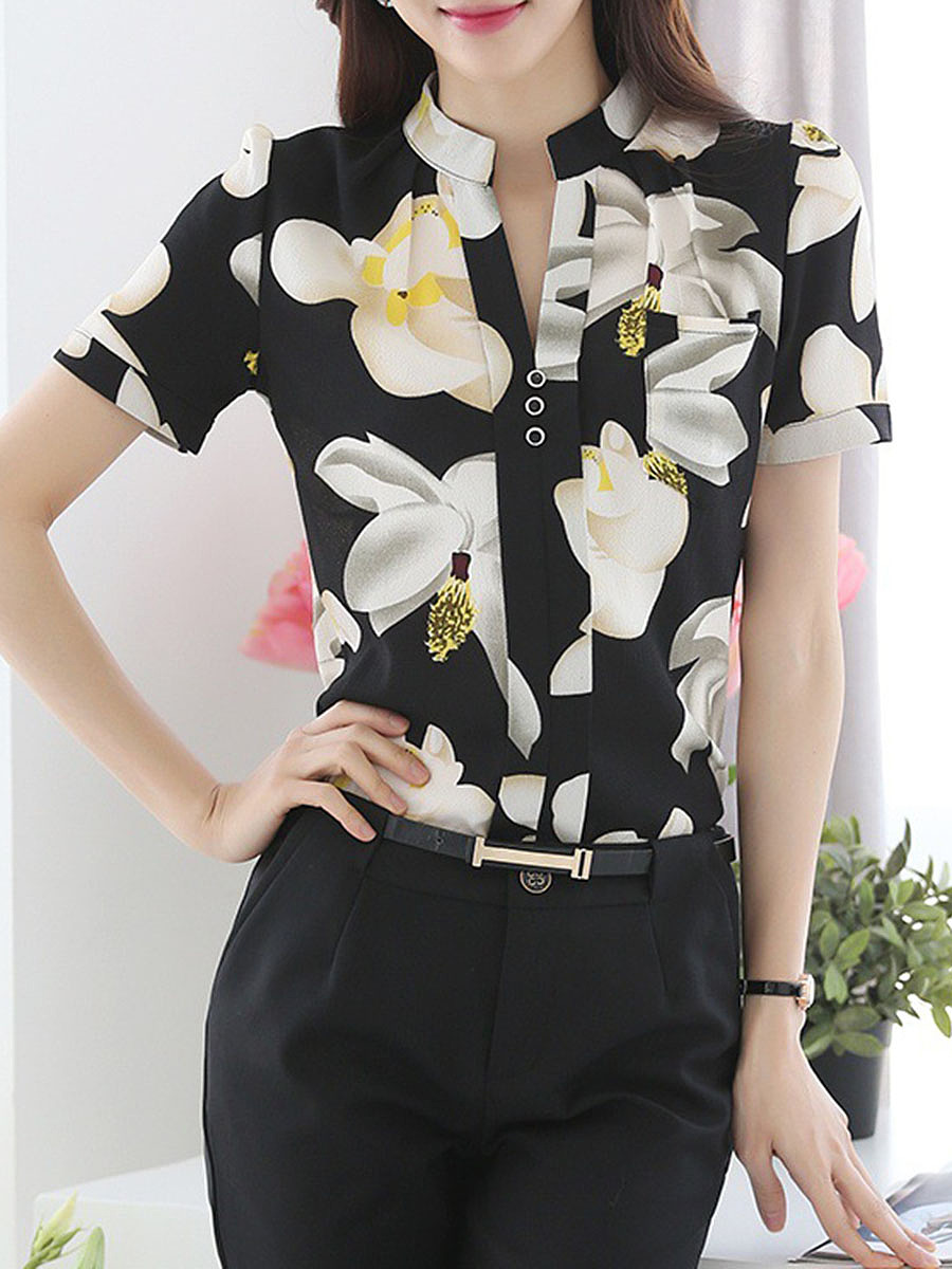 Henley Collar Single Breasted Floral Blouse
