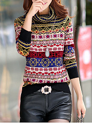 High Neck  Abstract Print Pullover