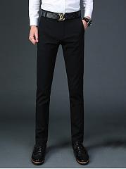 Fitted-Plain-Pocket-Slim-Leg-Mens-Casual-Pants