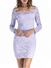 Word Collar  Scalloped Hem  Smocked Bodice  Plain Bodycon Dress