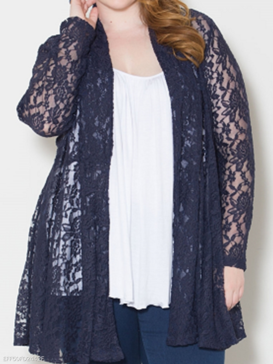 Lapel Lace See-Through Plain Plus Size Cardigan