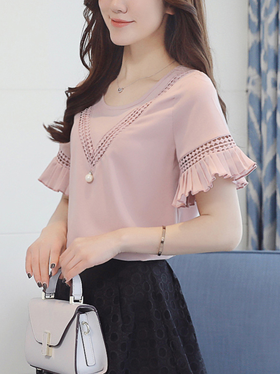 Hollow Out Plain Round Neck Bell Sleeve Blouse