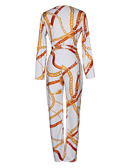 Sexy Deep V-Neck  Belt  Printed  Slim-Leg Jumpsuit