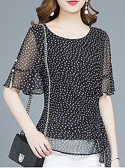 Summer  Chiffon  Women  Round Neck  Polka Dot  Half Sleeve Blouses