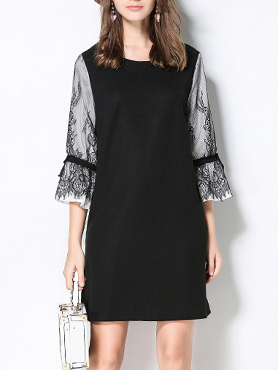 Round Neck Decorative Lace Bell Sleeve Plus Size Shift Dress