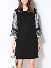 Round-Neck-Decorative-Lace-Bell-Sleeve-Plus-Size-Shift-Dress