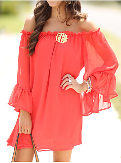 Off Shoulder  Plain Date Shift Dress