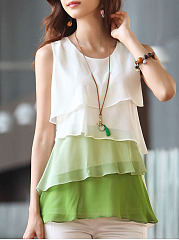 Round Neck  Flounce  Color Block Blouses