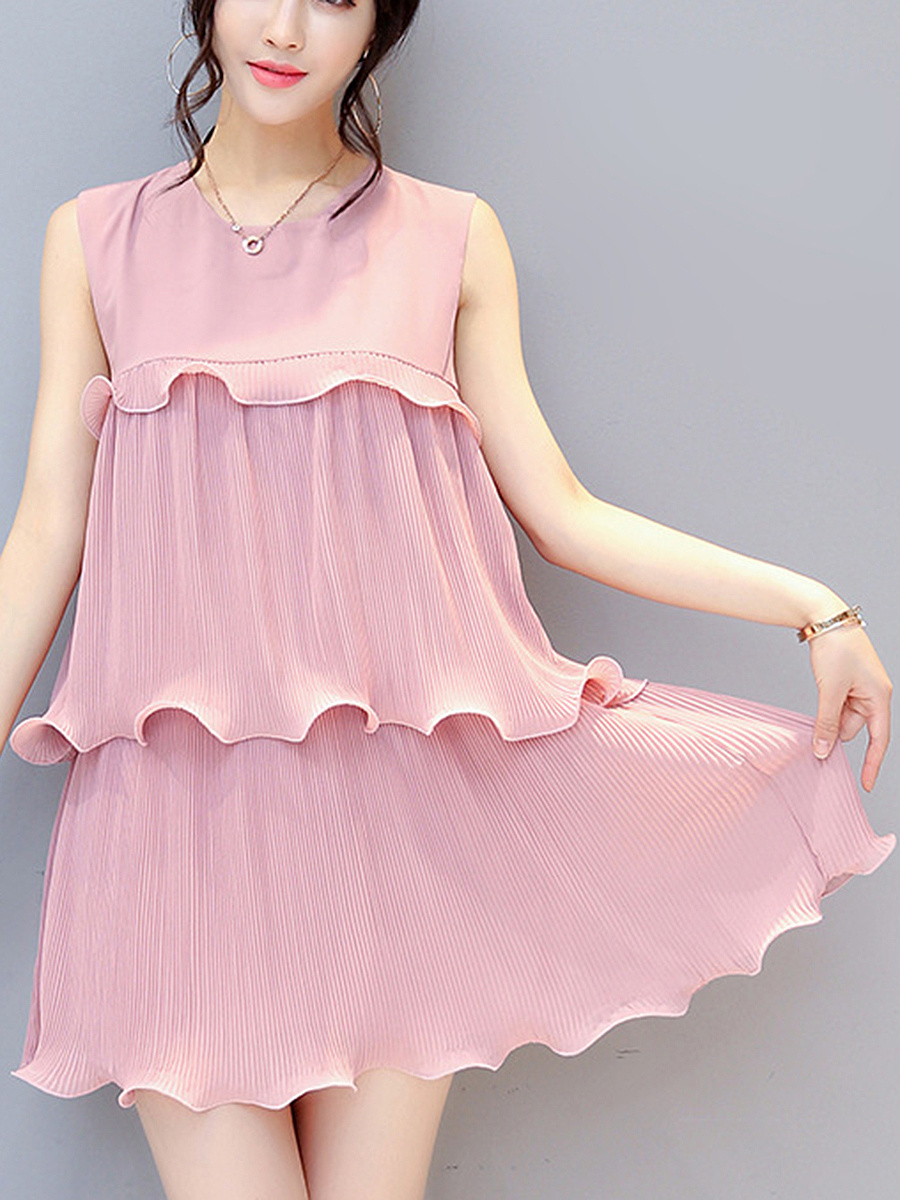 Round Neck Plain Chiffon Pleated Layered Shift Dress