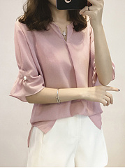 Spring Summer  Blend  Women  Collarless  Plain  Petal Sleeve  Half Sleeve Blouses