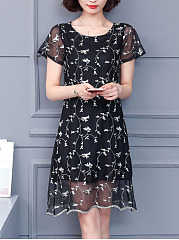 Round Neck  Brocade Shift Dress