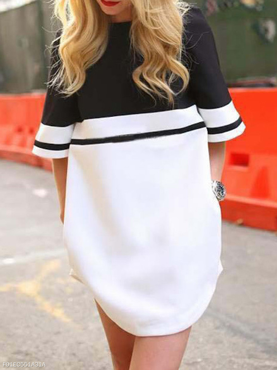 Round Neck  Color Block Round Neck Shift Dress