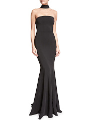 Black Halter Mermaid Maxi Dress