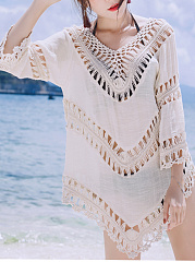V-Neck See-Through Crochet Plain Tunic