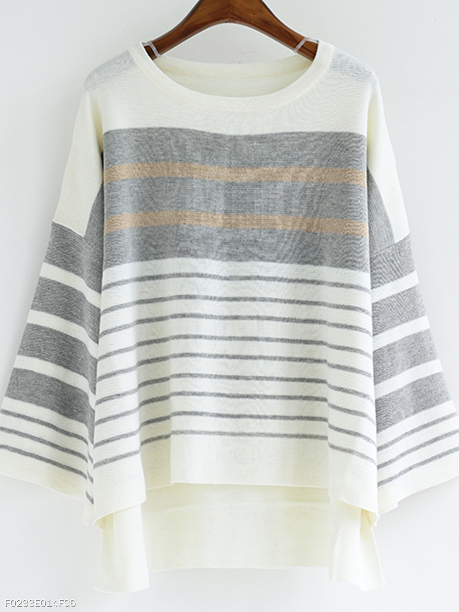 Round Neck  Asymmetric Hem  Striped  Three-Quarter Sleeve Sweaters Pullover