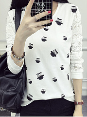 Autumn Spring  Cotton  Women  Round Neck  Decorative Lace  Printed Long Sleeve T-Shirts